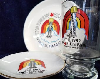 SHIPS FREE 1982 World's Fair Knoxville Tennessee TN Sunsphere Plate Dish Juice Glass Collection