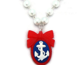 Rockabilly Anchor Cameo Necklace with White Pearls