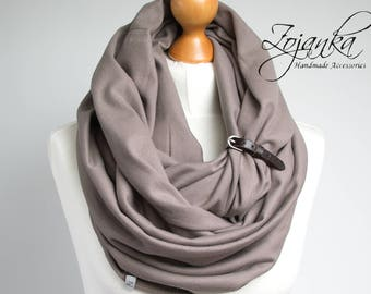 TAUPE Infinity Scarf Shawl Loop with leather strap,  infinity scarves, fashion scarf, gift for her, taupe scarf, medium weight scarf, jersey