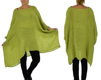 HZ800HGN ladies tunic poncho blouse linen gauze layered look one size kiwi green Gr. 42, 44, 46, 48, 50, 52, 54