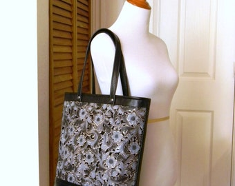 Floral Laser Cut Leather Bag Black Distressed Finish Leather Tote Floral Laser Cut Blue Denim Color Perforated Handbag Large Shopping Tote