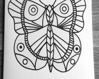 Coloring cards for kids-Butterfly