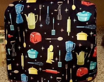 Retro kitchen print fabric mixer cover/mixer cover/ Kitchen Aide mixer cover/ Kitchen Aide/fabric mixer cover/ stand mixer/multi colored/