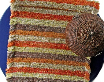 """Handwoven Cozy Chenille Rug, Weaving, Loom-woven,  Handmade, Size: 24"""" x 42"""" Autumn Fall Colors"""