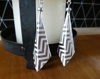 Origami, graph paper white and Silver earrings dangle earrings