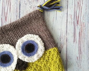 Wool Baby Owl Hat - Size 12 months