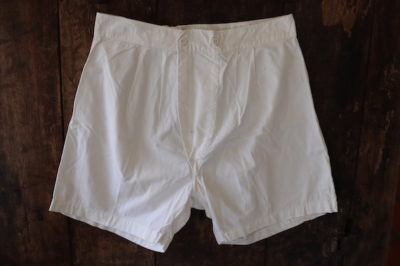 "Vintage 1940s 40s 1950s 50s french army military white cotton boxer shorts underwear pants 30"" 31"" waist (1)"