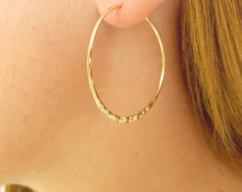 Minimalist Hoop Jewelry, Large Wire Hoop Earrings, 14K Gold-Filled, Gold Hammered Hoops, Hoop Earrings