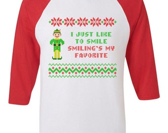 Funny Smiling is My Favorite Buddy the Elf Christmas Raglan American Apparel 3/4 Sleeve Shirt Knit sweater Present Holiday Film Merry Quote