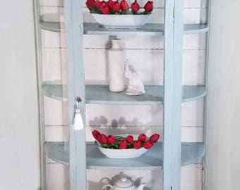 SOLD Curved Glass/ Bowed Glass Curio Cabinet, China Hutch, China Cabinet Shabby Chic, Farmhouse, Shiplap