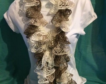 Lace Scarf -Brown & White