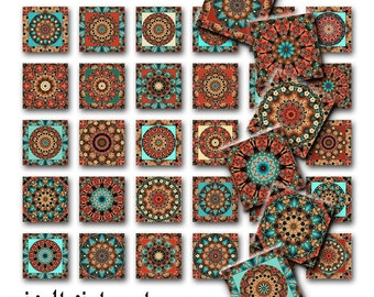 Mandalas Altered Art Instant Download for glass Resin Scrabble Tile Pendants Collage Sheet Square Images 1 Inch JPEG (M-12)
