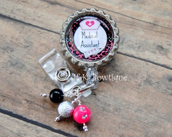 Medical Assistant badge reel, Retractable Badge Reel, Nurse badge reel, medical badge reel, id holder, Nurse id badge, id badge holder