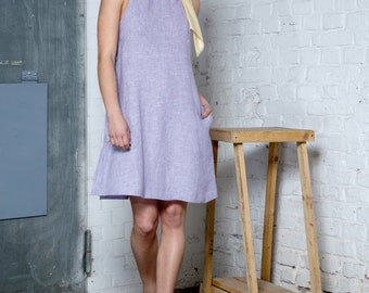 Lavender hemp halter dress - Wedding guest party dress