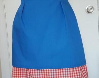Raggedy Ann Half Apron, Women's Apron, Half Apron, Raggedy Ann Apron, Blue Apron, Red Checker, Red Gingham, Kitchen Gift, Kitchen Apron