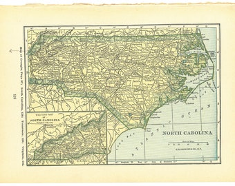 1927 Atlas of the World Vintage Map Pages (North Carolina map on one side and North Dakota map on one side)