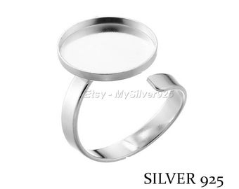 15mm - discount - Cabochon 925 sterling silver ring