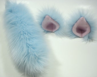 Blue Cat Ears And Tail-Cat Costume- Cat Ears Harajuku-Hime-Lolita- Cat Tail-Halloween-Cosplay-Anime-Fluffy Cat Ears -Cat Birthday Party