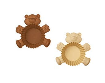 Silicone Bear Cupcake Liners / Reusable Teddy Bear Muffin Baking Cups / Baby Shower Party Pastry Molds / Cute Kids Kitchen Bakeware Tools