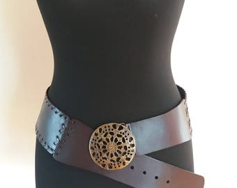 Brown Leather Gypsy Hammered Dome Hippie Tribal Belt