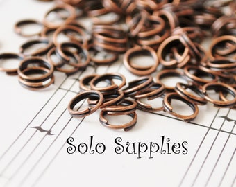 100 6mm Antiqued Copper Split Rings