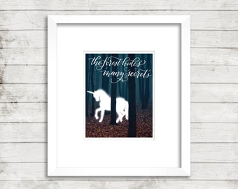 Forbidden Forest. Harry Potter. Unicorn. Dark Forest. Hogwarts Instant Download. Calligraphy Print. Calligraphy Font. Wall Art. Movie Quote.