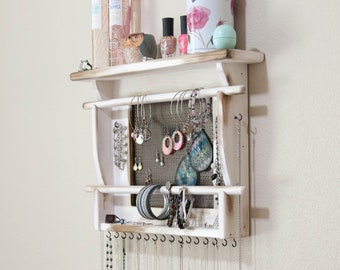 Jewelry Holder, Wall Mounted Jewelry Organizer, Double Bracelet Bar Now Available in a Modest Size.