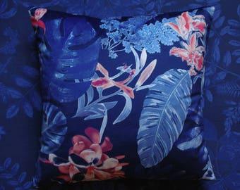 VELVET PILLOW blue jungle