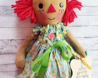 Happy Birthday Corgi Balloons Annie - Primitive Raggedy Ann Dolls (HAFAIR)