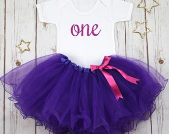 First Birthday Purple Outfit, Baby Girls First Birthday, Cake Smash Outfit, Glitter Tutu Outfit, One Bodysuit, Baby Girls Tutu
