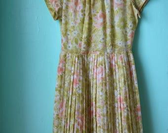 50s Yellow Rose Cotton Dress