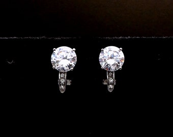 CLIP ONS bridal earrings wedding jewelry bridesmaid party gift prom round cut simple solitaire aaa cubic zirconia 8mm rhodium silver cz deco