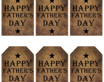 grungy tag set, primitive tags, craft supplies, scrapbooking, prim tags - Happy Fathers Day, black stars - digital PDF & jpeg - HFDGT02