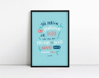 Literary Quote - Jane Austen Gifts - Book Lover Gifts - Jane Austen Quote - Literary Gifts - Typography Print - Pleasure in a good novel