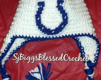 Crochet colts hat   indianapolis colts flap hat newborn to one yearold