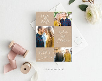 Printable Save the Date Announcement   Save the Date, Invitation, Three Photos, Multiple Photos, Simple, Rustic
