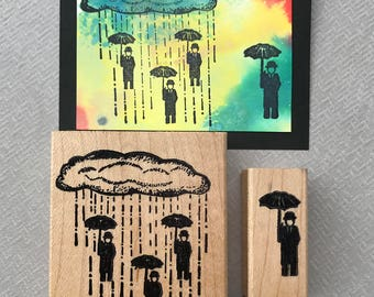 Rubber Stamp Raining Men Set