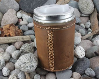 Leather Jar Cozy with Felt Insulation