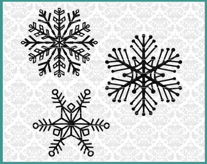 CLN0676 Hand Drawn Snowflake 3 Pack Winter Christmas Design SVG DXF Ai Eps PNG Vector Instant Download Commercial Cut File Cricut Silhouette