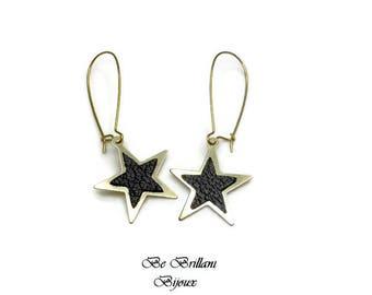 Leather star earrings, Stud Earrings, black