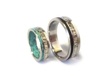 Titanium Wedding Ring Set, Titanium Ring with Deer Antler and Turquoise Inlays, Men's Ring with  Ebony Wood and Antler Inlays