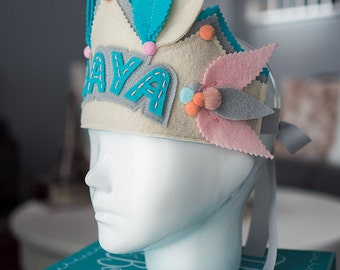 Pastel Birthday Crown, Girl Birthday Crown, Personalized Birthday Crown, Woodland Birthday, Baby 1st Birthday Crown, Baby Name Crown