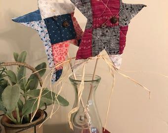 Set of 2 Patriotic Vintage Quilt Flat Star Sticks/Plant Stakes/Primitive