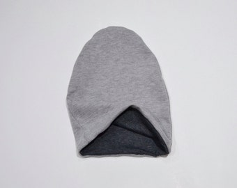 Reversible Baby Slouchy Beanie, Charcoal Gray/Gray Solid, Toddler boy slouch beanie, Slouchy knit hat, Baby Gift