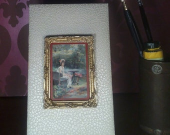 "Mini version painted ""The Garden"" (Marcus Stone) oil"