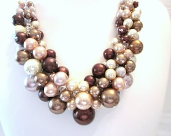 "The ""Shades of Brown"" Pearl Cluster Necklace - Chunky, Choker, Bib, Necklace, Wedding, Bridal, Bridesmaid, Prom, Formal, Fall"