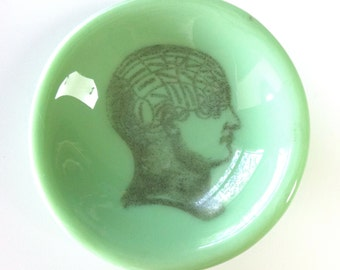 Fused Glass Dishlette with Phrenology Head in Jadite green for Jewelry Rings Keys Nuts Paperclips Candles Soap Spoon rest