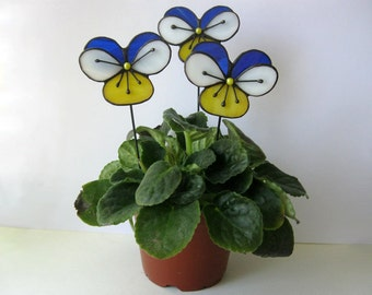 Stained glass pansy flowers Viola 3d Decoration for pot  Handmade Garden decor Gift for her