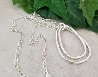 Large Teardrop Hammered & Smooth Pendant Necklace