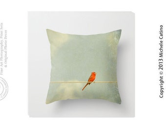 Cardinal on Wire Pillow Red Cardinal Pillow Cover Teal Sky Clouds Bird on Wire Throw Pillow and Cover